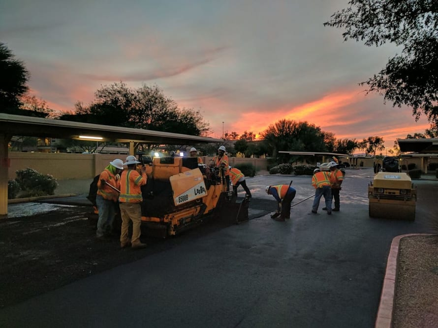 Workers Laying Asphalt in Arizona